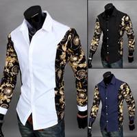 erkekler için siyah kıyafetler toptan satış-Toptan-Yeni 2016 Siyah Ve Altın Elbise Gömlek Barok Baskılı Beyaz Gömlek Erkekler Yaz Kıyafetler Camisas Slim Fit Chemise Ucuz Giysiler Çin