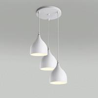 drei kopf führte pendelleuchte großhandel-Restaurant Lampen Aluminium Tulpe moderne Loft Beleuchtung Pendelleuchten eine Tasche Nordic klassische Kombination Mahlzeiten Kronleuchter E27 Drei Einkopf