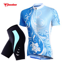 Wholesale Dry Suits For Women - Tasdan Fashion Sports Cycling Jersey Set High Color Fastness Breathable Outdoors Ladies Short Suits for Womens