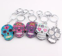 Wholesale Metal Skulls For Sale - 2017 New Vintage Trinket for Car Colorful Skull Alloy Acrylic Hot Sale Keychain Doll Face Keys Ring Cars Key Chain Jewelry Accessories C165