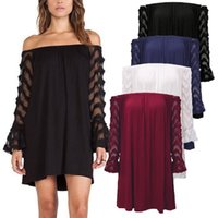 Wholesale Lace Casual Loose Tops - Plus Size Blusas 2017 Sexy Off Shoulder Mesh See Through Loose Long Casual Tops Solid Women Evening Party Blouse Shirts S-4XL