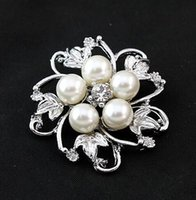 Wholesale Broches Pearls - Brooches For Women Top Fashion Freeshipping Trendy Women Broches Hijab Vintage Brooch 20pcs Faux Pearl Pin 36*36mm hic