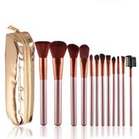 ingrosso l'oro compone il caso-Fashion Gold 12 Pcs Pennelli per trucco professionale Set Case Make up Collezione pennelli Pennelli per pennelli