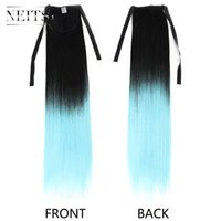 Wholesale Ombre Clips For Hair Extension - Neitsi 22inch 1pc L.Blue# Ombre Ponytail Synthetic Clip in Ponytail StraightSynthetic Hair Ponytails for Party Casual Highlight Extensions