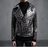 carrinho da raça da motocicleta venda por atacado-Casual masculino cantor novo outono e inverno roupas de palco de moda personalizado paletó casaco de couro / M-XL
