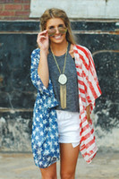 Wholesale Blouses American Flag - New Women's Fashion Clothing Casual Tops Blouse With American Flag Print Star Thin Long Cardigan Ladies Outwear Party Clothes RF0163