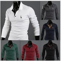 Kostenloser Versand Muskel Männer Casual Slim Polo Shirts Fit langarm POLO shirts Top 6 Farbe