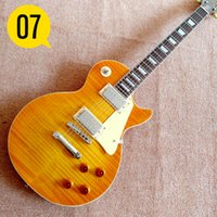 Wholesale Lp Guitar Body - Yellow NEW 1959 R9 les Tiger Flame paul electric guitar Standard LP 59 electric guitar in stock EMS free shipping