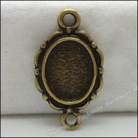 Wholesale Wholesale Metal Necklace Frame - 100 pcs Vintage Charms Picture frame Pendant Antique bronze Fit Bracelets Necklace DIY Metal Jewelry Making