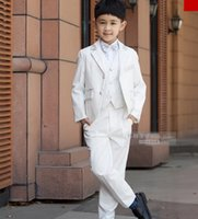 Wholesale Casual Wear For Children - High Quality Children Wedding Blazer Clothing Set Costume Birthday Casual Formal Boy Suits For Wedding 5 PCS Set F1005