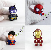 Wholesale NEW LED superhero Batman superman Keychain pendant accessories spiderman Iron man luminous with sound action figures key chain