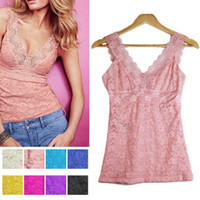 Wholesale Cheap Black Lace Tank Top - Wholesale-Cheap&High Quality Women Sexy Lace Floral T-shirt Tank Tops Sleeveless Stretch Crochet Vest Blouse Free Shipping