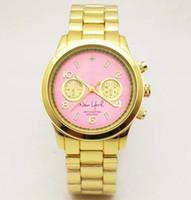 relojes de pulsera para hombre de marcas. al por mayor-7 colores M marca relojes de pulsera hombres mujeres lujo Oro acero inoxidable relojes de pulsera Reloj de cuarzo de moda de negocios Relojes de plata Relojes
