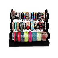 Wholesale Jewelry Bangle Organizer - Wholesale Portable Jewelry Display Rack Black Velvet Three-Tier T Bar Bracelet Bangle Watch Display Organizer Storage Holder