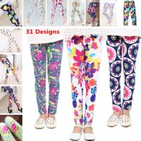 Wholesale Wholesale Childrens Tights Leggings - Baby Kids Childrens Girls Printing Flower Tights Leggings Toddler Classic Dot Striped Dress Pants 2-14Ybaby 31Designs HH7-42