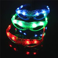 Wholesale Wholesale Spiderman Glasses Light Up - LED Spiderman Glasses Luminous Cool Mask Halloween Party Decoration Supplies Light Up Props Kids Toys Favor