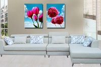 Impressão giclée Canvas Wall Art Flores vermelhas Contemporary Floral Painting Home Decor Set20178