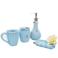 Wholesale Dishes Decor - Retro Exquisite Bathroom Accessories European Oceann Style Blue Soap Dish Teethbrush Holder Bathroom Decor Accessories