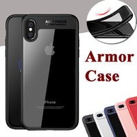 Wholesale Tpu Materials Design - For iPhone X Case 2 in 1 Hard PC+TPU Soft Material Ultra Thin Slim Anti-drop Transparent Design Protective Cover For iPhone 8 Plus 7 6 6S