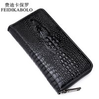 Wholesale Gothic Zipper - 2015 Sell well Gothic crocodile handbag luxury men's leather wallet men business clutch bag zipper long section clutch bag