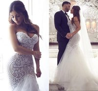 Wholesale sexy crystal sweetheart mermaid wedding dress resale online - Sexy Arabic Plus Size Mermaid Wedding Dresses Sweetheart Beaded Lace Appliques Pearls Tulle Illusion Backless Court Train Bridal Gowns