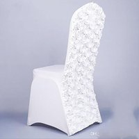 Wholesale Rose Flower Chair - New Arrival Universal Rose Satin Spandex Chair Cover Covers With Satin Flower In Back For Wedding Party Banquet