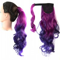 Wholesale ponytail wraps - Sara 40cm,16inch Wavy Curly Ombre Ponytails Wrap Around Ponytail Hair Extension Colorful Pony Tail Synthetic Hair Ponytails Horsetails