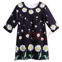 полупансион для девочки оптовых-Pettigirl новые весенние и летние хризантемы цветочные печати маленькие черные прямые девушки платья Половина рукава детские Детская одежда GD90124-525F