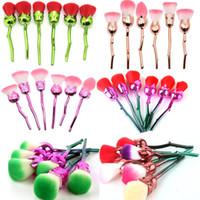 pinceles de maquillaje de flores al por mayor-6 unids / set Rose Make Up Brushes Set Base de maquillaje profesional en polvo Blush Flower Contour Blending Makeup Cosmetic Kits