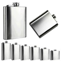 Gros-Portable 4 5 6 7 8 10 Hip Oz en acier inoxydable d'alcool Whiskey Alcool Flask Cap BQ2Z
