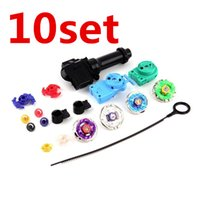 Wholesale Metal Cord Sets - 10set OPP Packing New Beyblade Metal Fusion Super String Rip Cord Launcher Children Favor Spinnig Toy Set Kid's Toys Free Shipping FCI