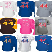 Wholesale womens ripped shirts - 2017 Womens Chicago 44 Anthony Rizzo Baseball Jerseys Ladies Shirt White Blue Grey Pink Fashion Stitched Size S-XL