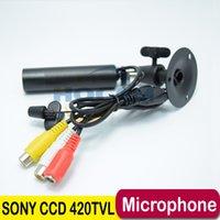 "Wholesale Cctv Camera Audio Microphone - Mini Bullet Camera Audio 1 3"" Sony CCD 420TVL Outdoor Waterproof Security CCTV Mini Waterproof Camera 3.6mm Lens Support Microphone"