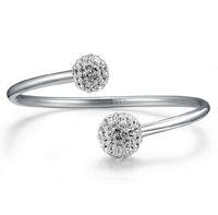 Wholesale Czech Crystals Bracelets - Korean Silver Bracelets Czech Drilling Open Bangles 30% 925 Sterling Silver Women Bracelet Wedding Shamballa Crystal Ball Hand Jewelry