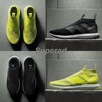 Wholesale Solar 36 - Ace 16+ PureControl Ultra Boost Black White Solar Yellow Men Running Shoes Sneakers Originals FashionRunner Primeknit Casual Shoes 36-45