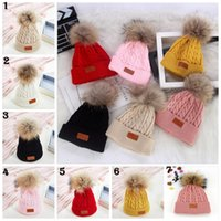 Wholesale Tie Dye Child - Autumn Winter pom pom hats kids fur pompom hats Natural Fur Hat Casual Solid Color Knitted Beanies Hat Children Skullies Caps YYA587