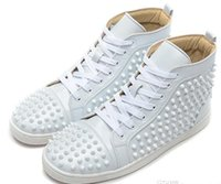 Wholesale Sports Skin Shoes - New ArrivlaFashion Mens Womens White Sheep Skin with White Spikes High Top Red Bottom Sneakers,Brand Casual Skateboarding Sports Shoes 38-46