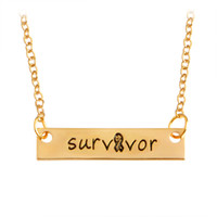 Wholesale Survivor Charms Wholesale - Survivor Bar Long Necklace & Pendants For Women Men Ribbon Gold Silver Letters Chain Charm Simple Fashion Jewelry New Year Gift