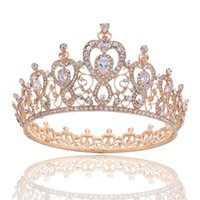 Wholesale Heart Pageant Crowns Tiaras - Elegant Full Round Queen Crown Tiara - Clear Crystal Princess Headpieces Hair Jewelry for Wedding Bride Clear Cubic Heart Pageant Prom Hair
