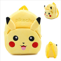 Wholesale Wholesale Pikachu Animal Backpacks - 2016 Pikachu Cartoon Yellow Backpack Baby Schoolbag Kindergarten Animal bags Plush Doll Toy Christmas Gift Double Shoulders Baby bags 10pcs