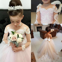Wholesale Pageant Long Gown - Pink Flower Girls Dresses Sheer Jewel Neck Floor Length Long Illusion Sleeves Lace Applique Tulle Girl Pageant Gowns Birthday Dresses