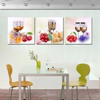 Decoración para el hogar sin marco 3 Pieces picture picture Impresiones en lienzo Copa de vino rosa Cherry Calla Lily jugo de fruta Apple orange Grape flor