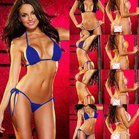 Wholesale Mini Swimsuit Sexy Men - Sexy Womens Micro Thong G string Brazilian Mini Top Bra Bikini Swimsuit Swimwear