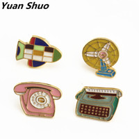 Wholesale Korea Jacket Women Style - Japan South Korea style retro enamel aircraft   phone   fan women brooches cute jacket collar pin jewelry drops oil badges pins