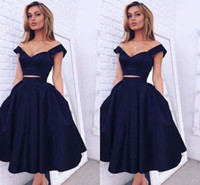 Wholesale two pieces short prom dresses for sale - Group buy 2016 New Sexy Short Two Pieces Prom Dresses Sweetheart Cap Sleeves Navy Blue Satin Tea Length Formal Party Dress Graduation Evening Gowns