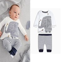 Wholesale Elephant Tee - Boys Girls Cartoon elephant print long-sleeved striped tshirt tops tees baby boys clothes newborn autumn leisure suit set warm clothing