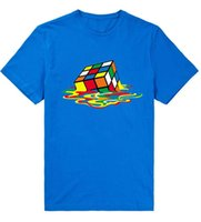 одежда больших размеров оптовых-Теория Большого Взрыва человек футболка разноцветный куб печати летом Хабар смешные хлопок с коротким рукавом мужчины рубашки Марка одежда тис MCT060