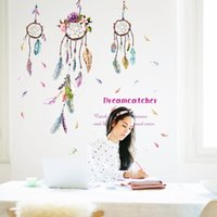 Wholesale Dreamcatcher Design - 60*90cm Wall Stickers DIY Art Decal Removeable Wallpaper Mural Sticker for Living Room Bedroom SK9051 Dreamcatcher Plume