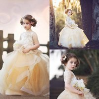 Wholesale cupcakes for graduation resale online - Gold Lace Ball Gown Flower Girls Dresses For Wedding Dress Communion With Sleeves Feather Bead Cupcake Pageant Gowns
