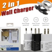 Wholesale Usb Data Cable Kits - 2 in 1 EU US Plug Adapter Wall Charger Travel Charging Kits Micro USB Cable 2.0 Data Sync Cable For Android Samsung S8 S7 Note 8 iPhone X 8